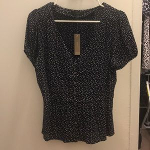 J. Crew button star printed v-neck blouse